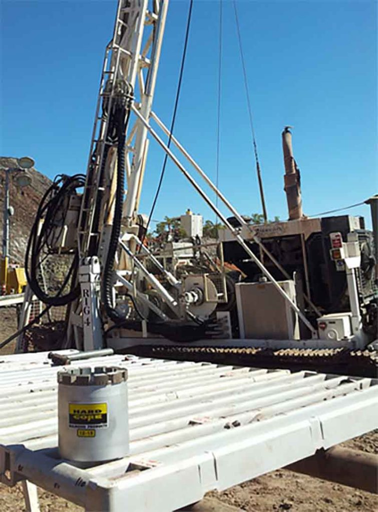 Onsite drill rig and hardcore bit